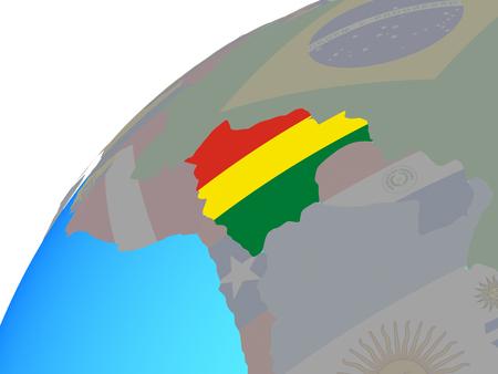 Bolivia with embedded national flag on globe. 3D illustration.