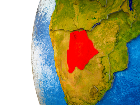 Botswana highlighted on 3D Earth with visible countries and watery oceans. 3D illustration. Stock Photo