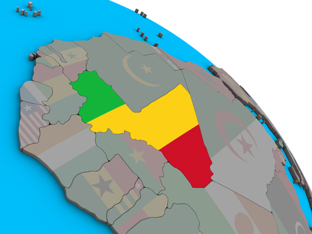 Mali with embedded national flag on simple blue political 3D globe. 3D illustration. Stock Photo