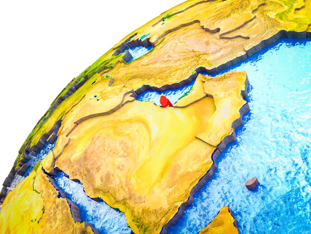 Qatar on 3D Earth model with visible country borders. 3D illustration.