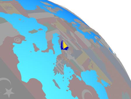 Bosnia and Herzegovina with national flag on simple blue political globe. 3D illustration.