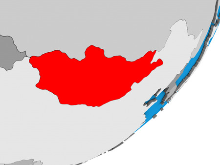 Mongolia on blue political 3D globe. 3D illustration. Stockfoto