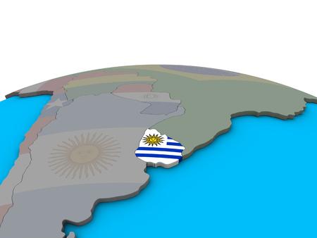 Uruguay with embedded national flag on political 3D globe. 3D illustration. Imagens
