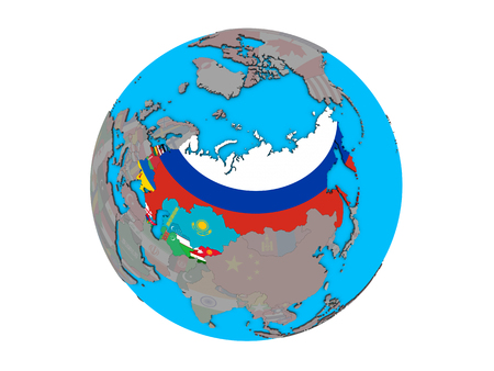 Former Soviet Union with embedded national flags on blue political 3D globe. 3D illustration isolated on white background. Banque d'images - 110191228