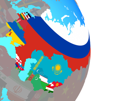 Former Soviet Union with national flags on simple political globe. 3D illustration.