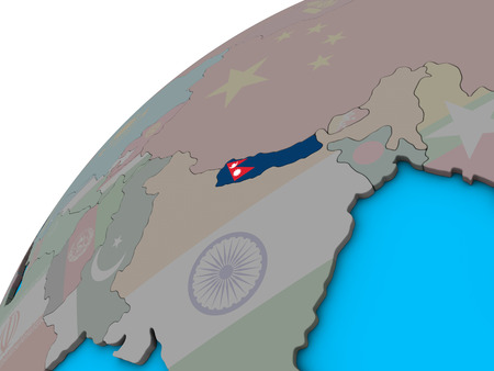 Nepal with national flag on 3D globe. 3D illustration. Фото со стока