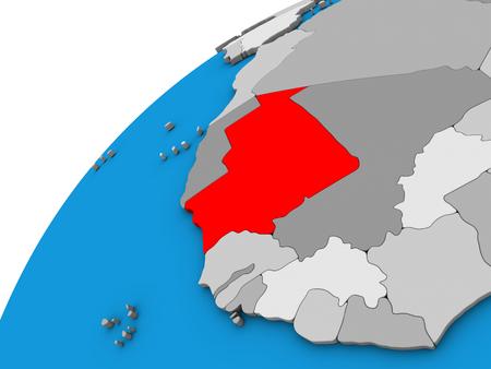 Mauritania on 3D globe. 3D illustration.