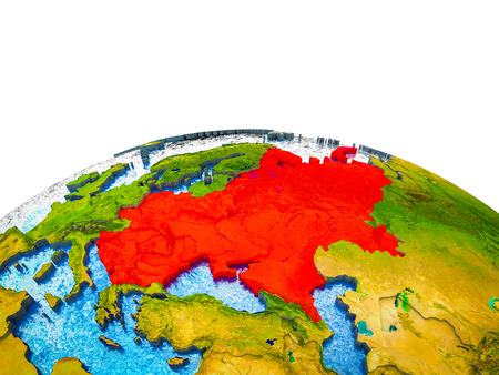 Eastern Europe on 3D Earth with visible countries and blue oceans with waves. 3D illustration.