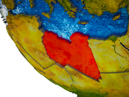 Libya on model of Earth with country borders and blue oceans with waves. 3D illustration. Stock Photo