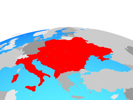 CEI countries on political globe. 3D illustration.
