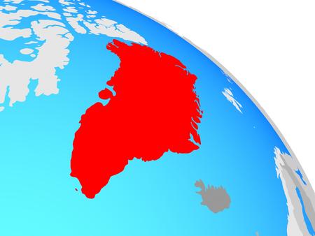 Greenland on simple blue political globe. 3D illustration. Stockfoto
