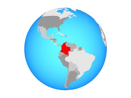 Colombia on blue political globe. 3D illustration isolated on white background. Reklamní fotografie - 110191136