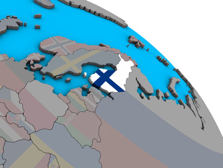Finland with embedded national flag on simple blue political 3D globe. 3D illustration.