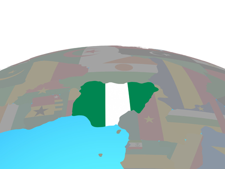 Nigeria with national flag on political globe. 3D illustration.