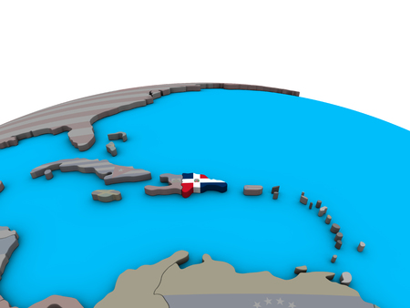 Dominican Republic with embedded national flag on political 3D globe. 3D illustration.