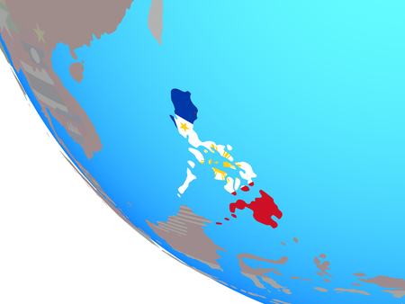 Philippines with national flag on simple globe. 3D illustration. Stock Photo