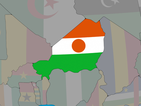 Niger with embedded national flag on blue political 3D globe. 3D illustration. Stock Photo