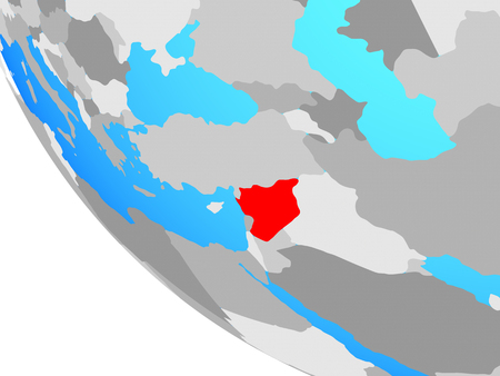 Syria on simple globe. 3D illustration.