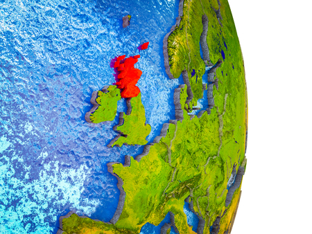 Scotland on 3D model of Earth with divided countries and blue oceans. 3D illustration.