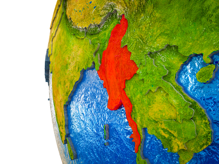 Myanmar highlighted on 3D Earth with visible countries and watery oceans. 3D illustration. Imagens