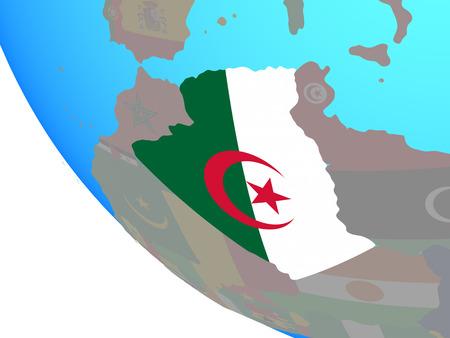 Algeria with national flag on simple globe. 3D illustration.