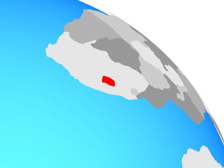 Lesotho on simple blue political globe. 3D illustration. Stock Photo