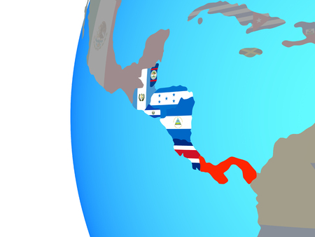 Central America with embedded national flags on blue political globe. 3D illustration.