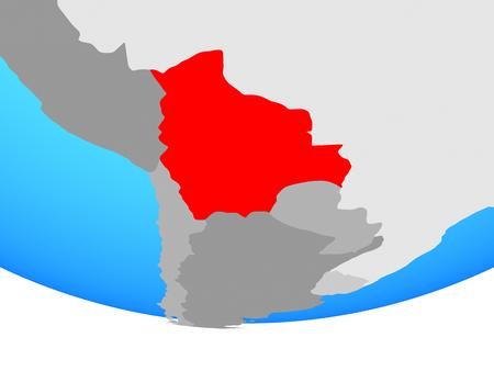 Bolivia on simple political globe. 3D illustration.