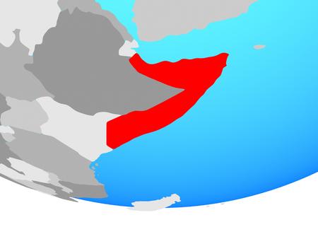 Somalia on simple political globe. 3D illustration.