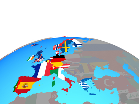 Western Europe with national flags on political globe. 3D illustration. Banco de Imagens