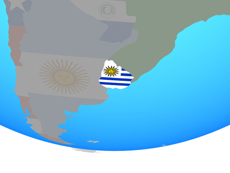 Uruguay with national flag on simple political globe. 3D illustration.