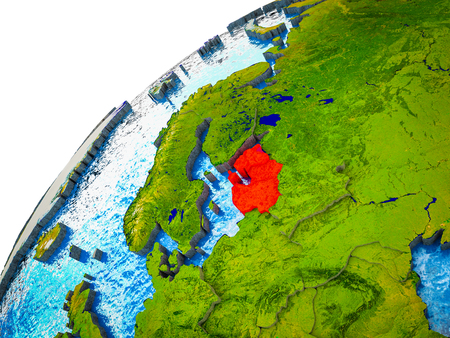 Baltic States on 3D Earth model with visible country borders. 3D illustration. Stock Photo