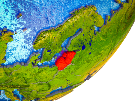 Baltic States on 3D model of Earth with water and divided countries. 3D illustration. Stock Photo