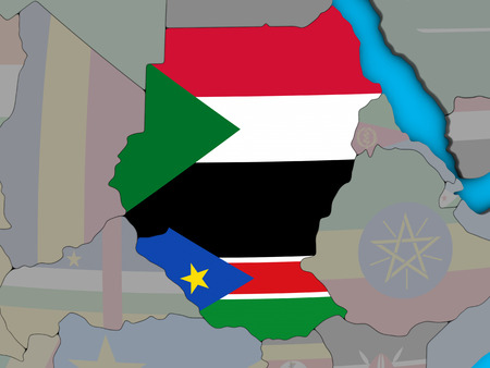 Former Sudan with embedded national flags on blue political 3D globe. 3D illustration. Stock Photo