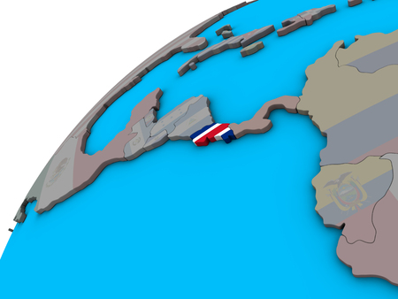 Costa Rica with national flag on 3D globe. 3D illustration.