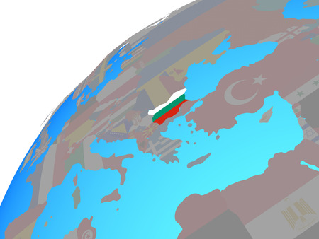 Bulgaria with embedded national flag on globe. 3D illustration.