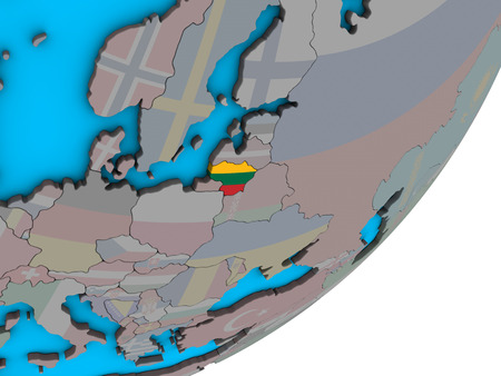Lithuania with national flag on blue political 3D globe. 3D illustration.