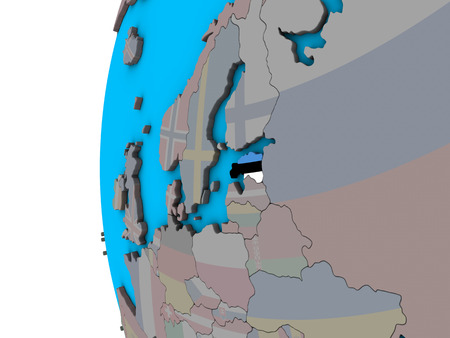 Estonia with national flag on blue political 3D globe. 3D illustration.