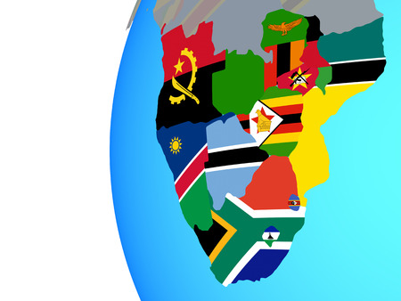 Southern Africa with embedded national flags on blue political globe. 3D illustration.