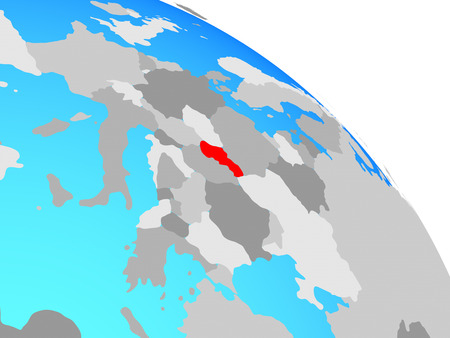 Slovakia on simple blue political globe. 3D illustration.