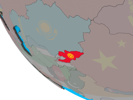 Kyrgyzstan with embedded national flag on simple 3D globe. 3D illustration. Stock Photo