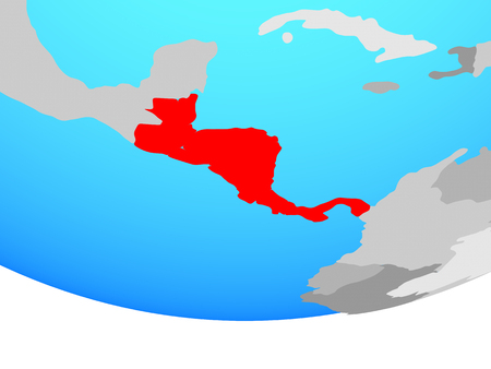 Central America on simple political globe. 3D illustration.