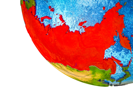 Former Soviet Union on model of Earth with country borders and blue oceans with waves. 3D illustration.