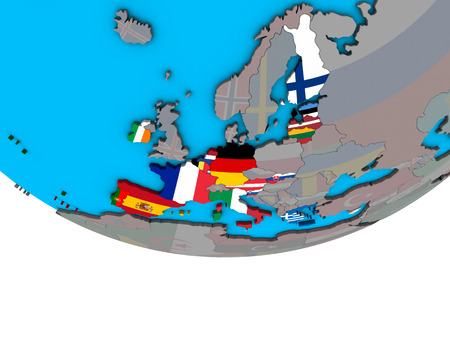 Eurozone member states with embedded national flags on simple political 3D globe. 3D illustration. Stock Photo