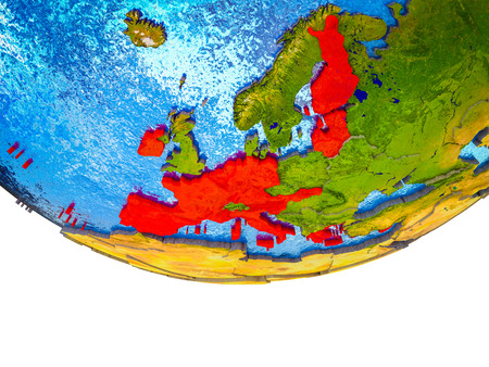 Eurozone member states on 3D Earth with divided countries and watery oceans. 3D illustration. Stock Photo