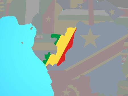 Congo with national flag on blue political globe. 3D illustration. Standard-Bild - 110190503