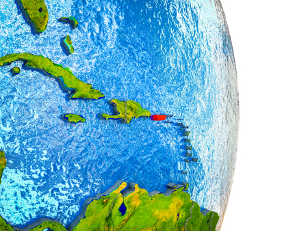 Puerto Rico on 3D model of Earth with divided countries and blue oceans. 3D illustration.