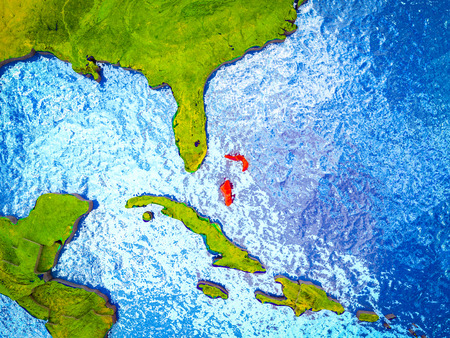 Bahamas on model of 3D Earth with blue oceans and divided countries. 3D illustration.