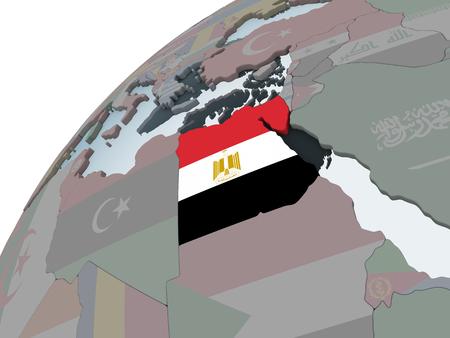 Egypt on political globe with embedded flag. 3D illustration.