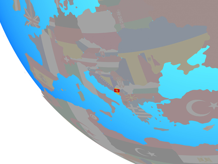 Montenegro with national flag on simple globe. 3D illustration. 스톡 콘텐츠